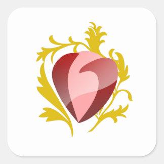 coração da morango adesivo quadrado
