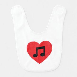 Coração da nota da música babador infantil