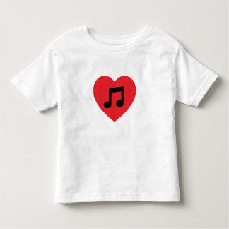 Coração da nota da música camiseta infantil