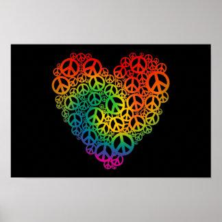 Coração da paz do arco-íris poster