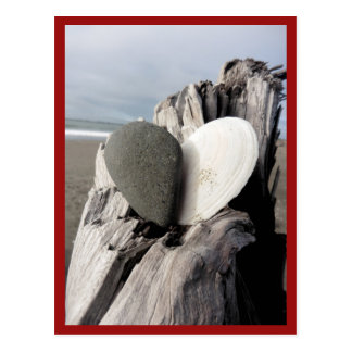 Coração da praia cartão postal