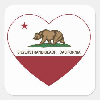 coração da praia do silverstrand da bandeira de adesivo quadrado
