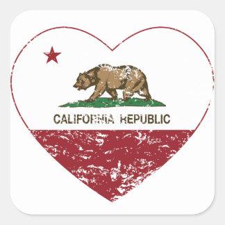 Coração da república de Califórnia afligido Adesivo Quadrado