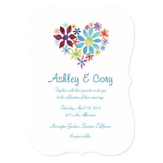Coração das flores que Wedding o convite Convite 12.7 X 17.78cm