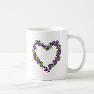 Coração das violetas caneca de café