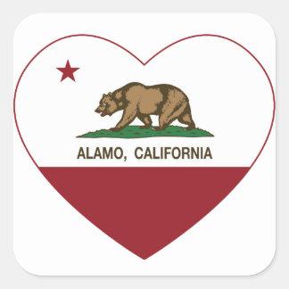 coração de alamo da bandeira de Califórnia Adesivo Quadrado