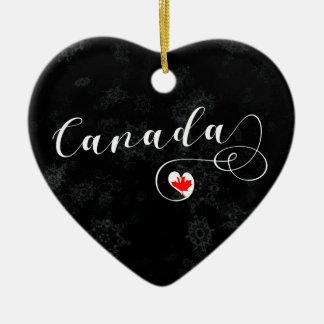 Coração de Canadá, ornamento da árvore de Natal,