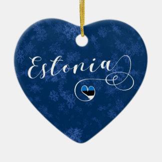 Coração de Estónia, ornamento da árvore de Natal,