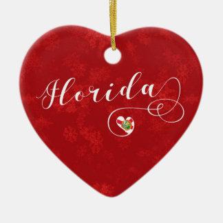 Coração de Florida, ornamento da árvore de Natal,