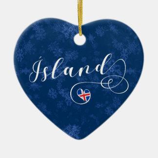 Coração de Ísland Islândia, ornamento da árvore de