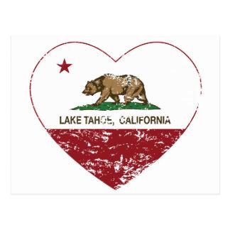 coração de Lake Tahoe da bandeira de Califórnia Cartão Postal