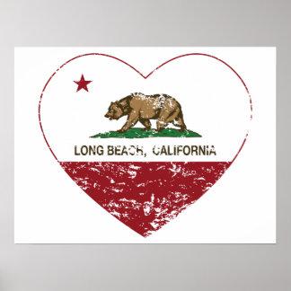 coração de Long Beach da bandeira de Califórnia af Pôster