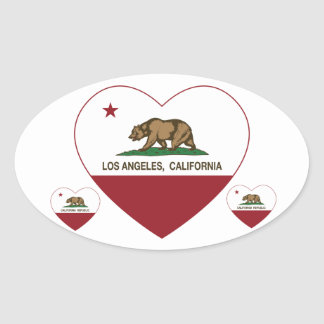 coração de Los Angeles da bandeira de Califórnia Adesivo Oval