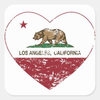 coração de Los Angeles da bandeira de Califórnia Adesivo Quadrado