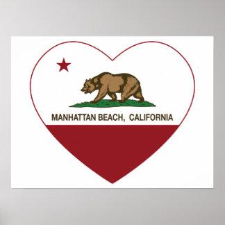 coração de Manhattan Beach da bandeira de Califórn Pôster