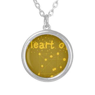 coração de ouro colar banhado a prata