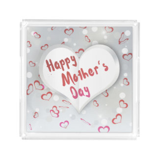 Coração de papel dobrado dia das mães - bandeja