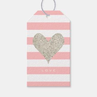 Coração de prata do brilho etiqueta para presente