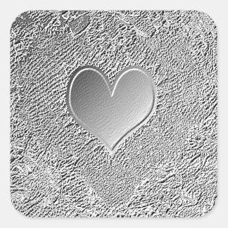 Coração de prata do metal adesivo quadrado