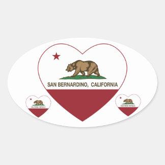 coração de San Bernardino da bandeira de Adesivo Oval