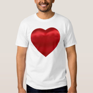 Coração de seda vermelho do cetim tshirts