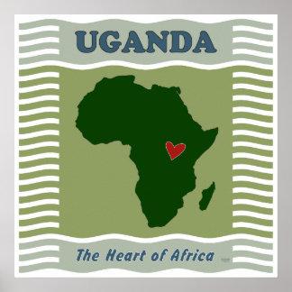 Coração de Uganda de África Pôsteres