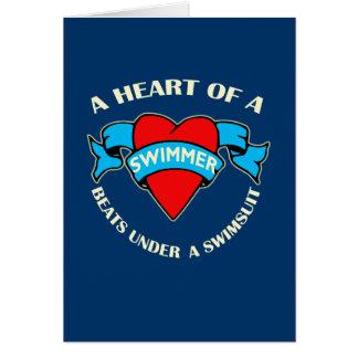 Coração de um nadador cartão comemorativo