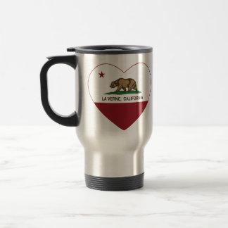 coração de verne do la da bandeira de Califórnia Caneca Térmica