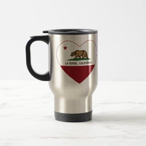 coração de verne do la da bandeira de Califórnia Canecas