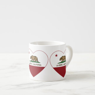 coração de verne do la da bandeira de Califórnia Caneca De Café