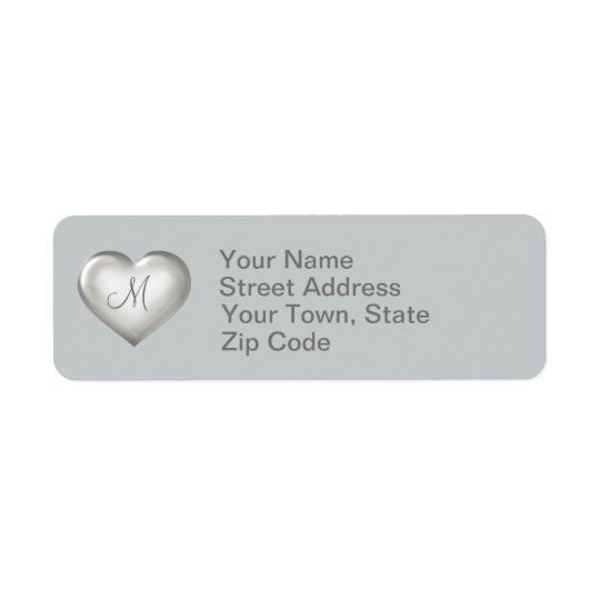 Coração de vidro de prata do monograma etiqueta endereço de retorno
