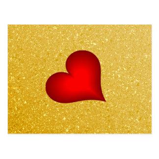 Coração do amor do brilho do ouro cartao postal