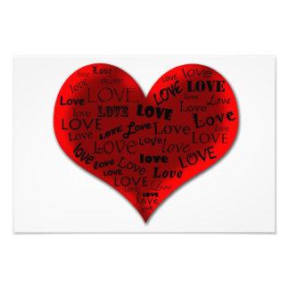 Coração do amor no vermelho impressão de foto