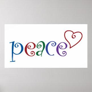 Coração do amor, paz poster