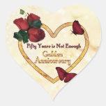 Coração do aniversário do ouro 50 adesivo coração