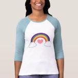coração do anos 80 & arco-íris - t-shirt