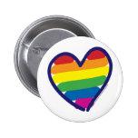 Coração do arco-íris do orgulho gay boton