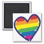 Coração do arco-íris do orgulho gay ímã quadrado