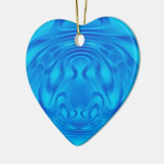 Coração do azul da fantasia ornamento de cerâmica coração