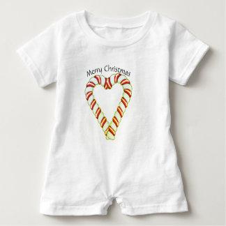 Coração do bastão de doces macacão para bebê