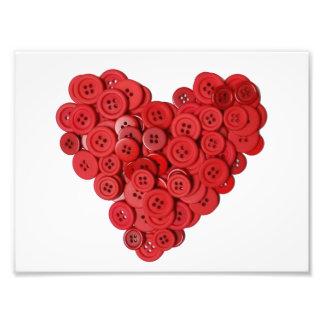 Coração do botão vermelho impressão de foto