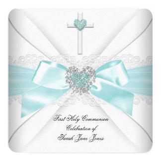 Coração do branco da cerceta do comunhão convite quadrado 13.35 x 13.35cm