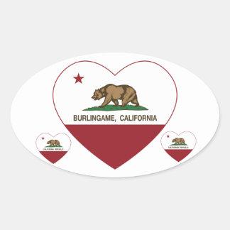 coração do burlingame da bandeira de Califórnia Adesivo Oval