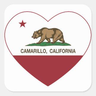 coração do camarillo da bandeira de Califórnia Adesivo Quadrado