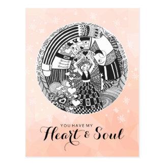 Coração do cartão dos namorados do pêssego & amor