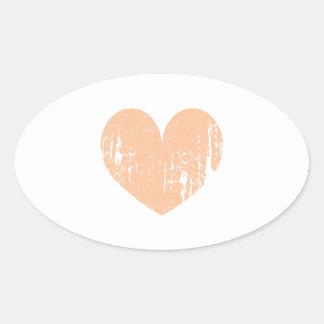 Coração do casamento da cor do pêssego do vintage adesivo oval