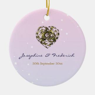 Coração do casamento ornamento de cerâmica redondo