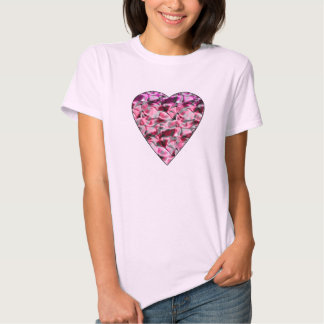 Coração do cetim camiseta