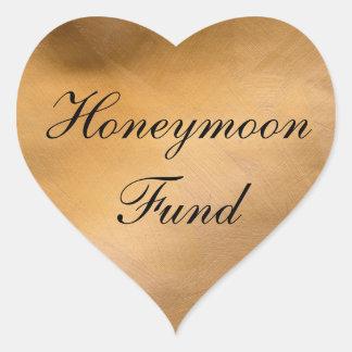 Coração do cobre do fundo da lua de mel adesivo coração