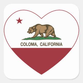 coração do coloma da bandeira de Califórnia Adesivo Quadrado